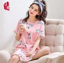 2019 New Cotton Nightgown Women Sweet Girl Lounge Cute Nightdress Sleepwear Summer Home Dress Casual Nightwear Sleepshirts Shirt
