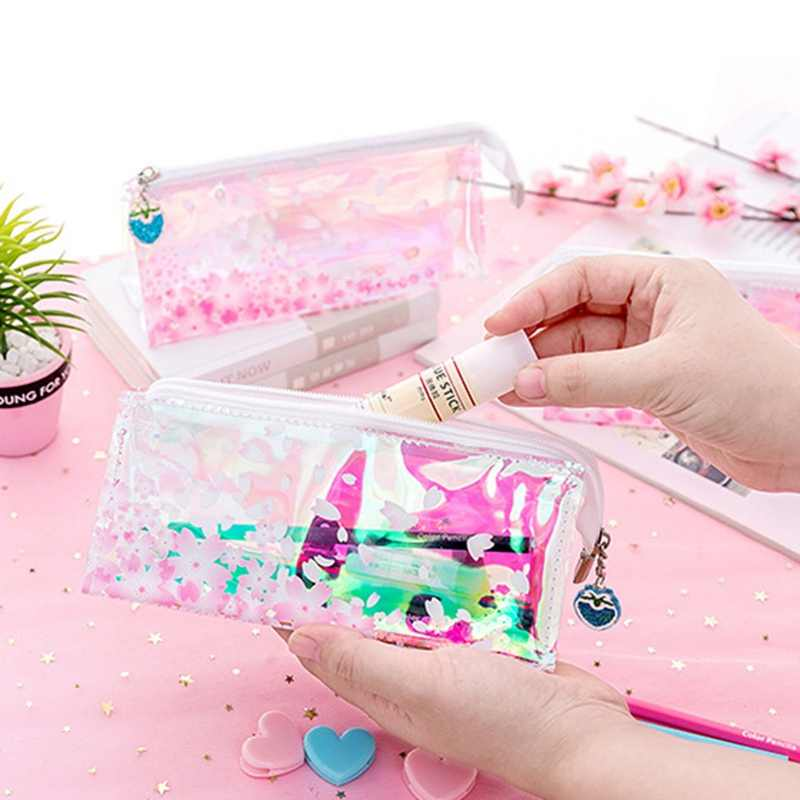 Shining Glitter Laser Pencil case Cherry Sakura Pencil Bag Holographic Stationery School Office Supply Escolar Papelaria Girl
