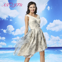 AXJFU luxury princess v neck lace vintage evening dress