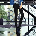 Donna Autumn Women Black Footless Leggings Sexy High-Waist Elastic Skinny Leggins Pants Casual Stretch Material Trousers D311Z