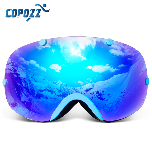 COPOZZ Ski Goggles Frameless Double Lens 100% UV400 Protection Adult Snowboard Snow Goggles for Men and Women Ski Glass GOG-203