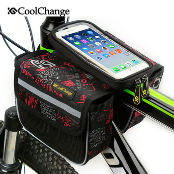 CoolChange Bicycle Touch Screen Phone Bag Bike Front Frame Mobile Bag Cycling Bags 5.7 inch Cellphone Bag Bicycle Accessories