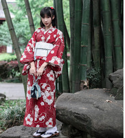 Traditional Japanese Floral Kimono with belt Womens Cotton Yukata Dress Japan Sexy Dancing Performances Cosplay Costume A60514