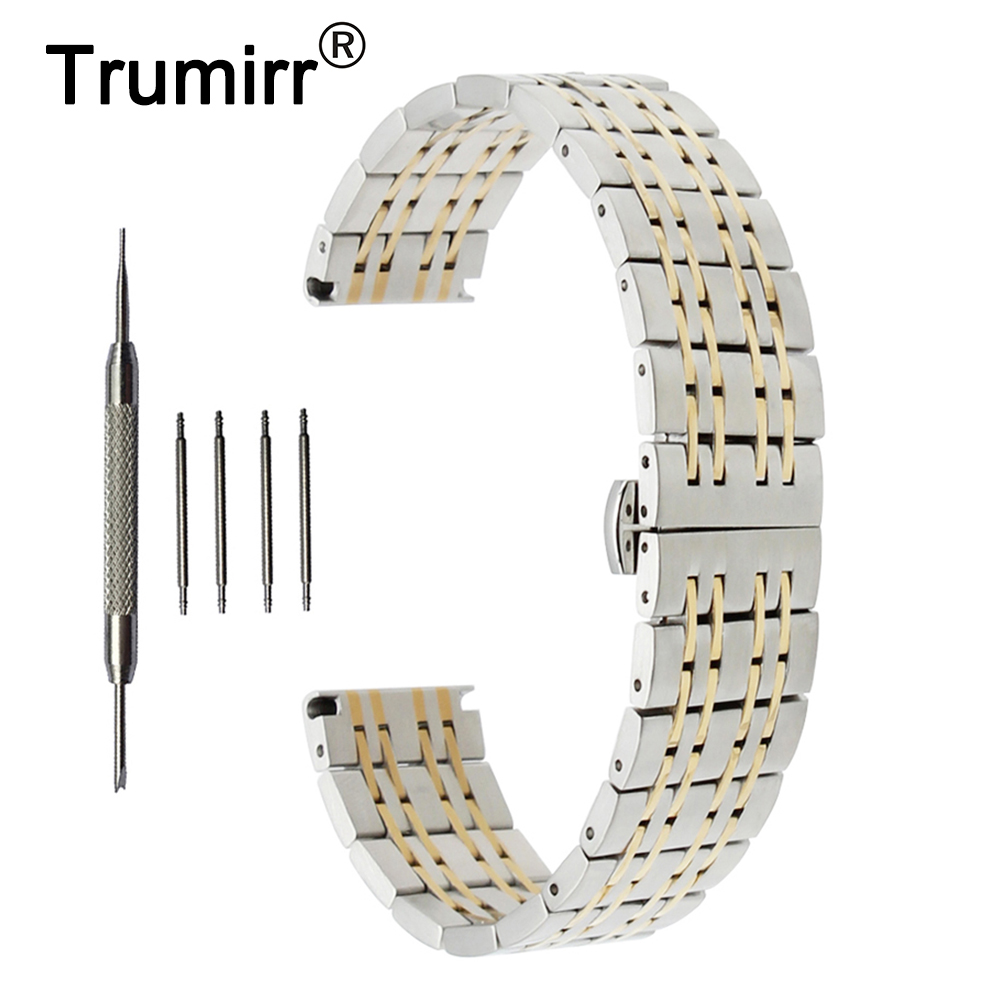18mm 20mm 22mm Stainless Steel Watch Band for Omega Butterfly Buckle Strap Wrist Belt Bracelet Black Rose Gold Silver stainless steel watchband adapters for fitbit charge 2 smart watch band butterfly buckle strap wrist bracelet silver rose gold