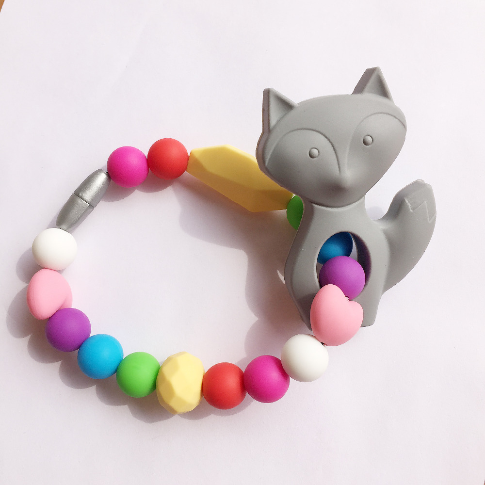 Toys For Teething : Fox teething toys silicone baby teether toy or necklace