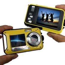 HD 1080P étanche appareil photo numérique double écrans (arrière 2.7 pouces + avant 1.8 pouces) 16x Zoom caméra de caméscope sous marin (DC998)