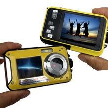 Водонепроницаемая цифровая камера HD 1080P с двумя экранами (задняя 2,7 дюйма + передняя 1,8 дюйма), подводная видеокамера с 16 кратным зумом (DC998)