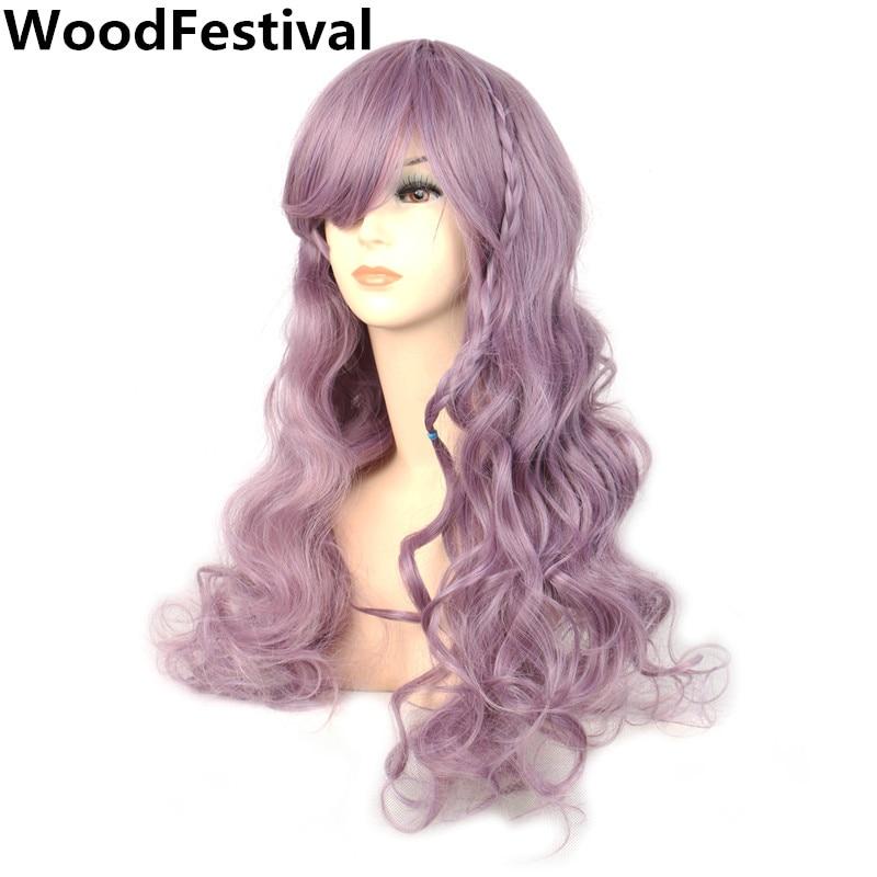 100% Wahr Frauen Licht Lila Taro Perücke Wellenförmige Lange Wellenförmige Synthetische Perücken Mit Pony Braid Haar Hitzebeständige Faser Woodfestival