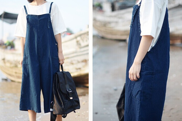 f7a20cc7d9c US $61.54  Mori Girl Forest Sweet Kawaii Cawaii Style Vintage Denim Ladies  Suspender Pants Women Cute Casual Rompers Jumpsuits Loose Jeans on ...