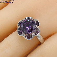 EIOLZJ Floral Purple Stone 925 Sterling Silver Rings For Women Anniversary Three Colors Available Free Jewelry Box Drop Shipping eiolzj white oval fire opal stone 925 sterling silver clip earrings for women bridal fashion jewelry free gift box three colors