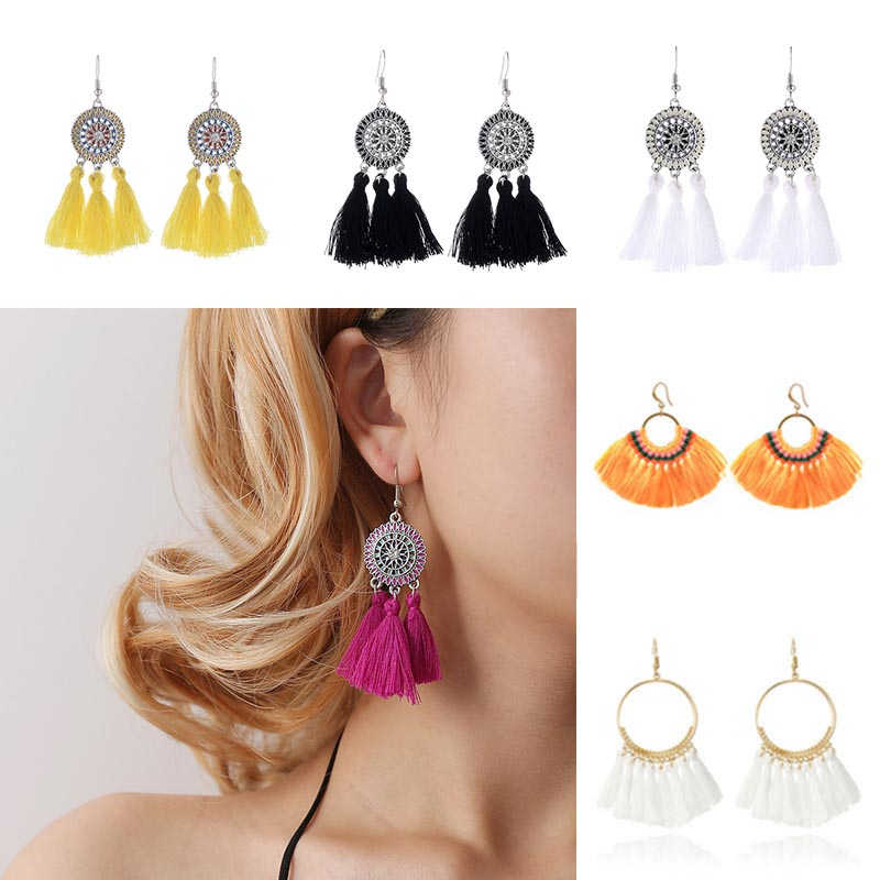 2019 Fashion Bohemian Women's Tassel Dangle Earrings Ethnic Resin Crystal Gold Drop Hanging Earrings for Women Jewelry wholesale