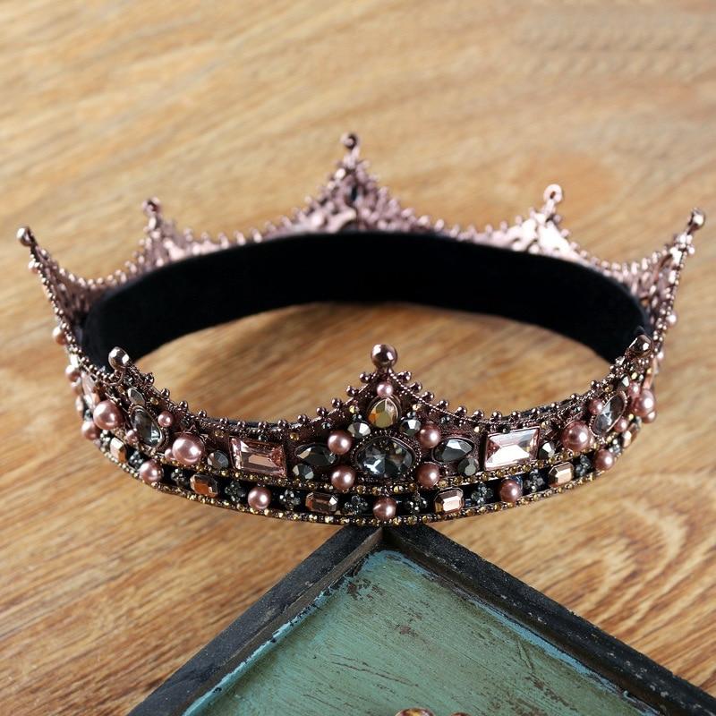Baroque Vintage Black Rhinestone Big Round Men Crown Wedding Hair  Accessories 367cd7c648c2