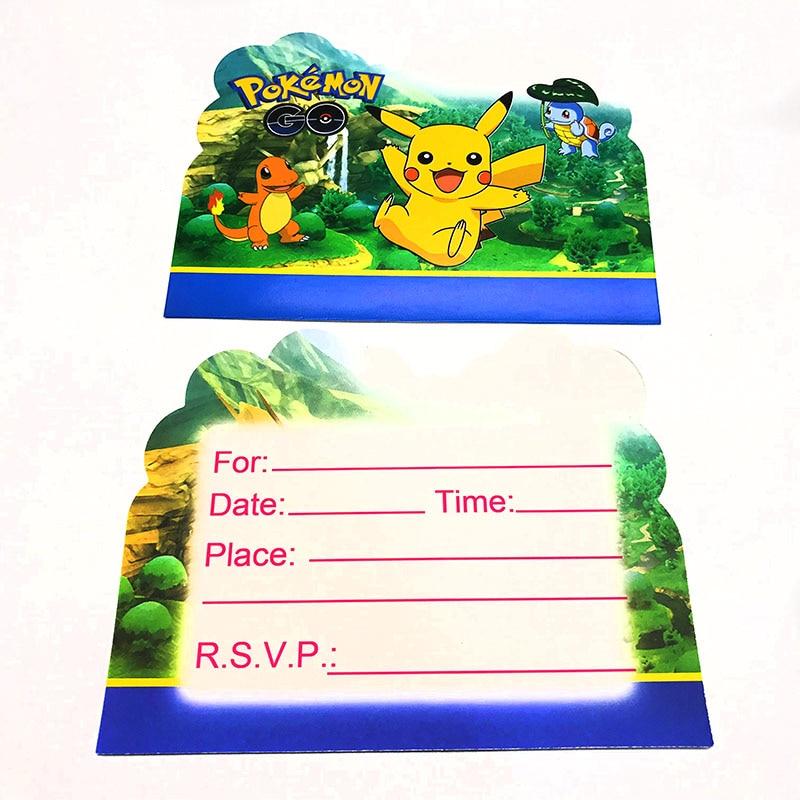 Dapper 10 Stks/pak Pokemon Gaan Thema Uitnodigingen Cartoon Pokemon Gaan Thema Uitnodiging Kaarten Pokemon Party Uitnodigingen Party Decoraties