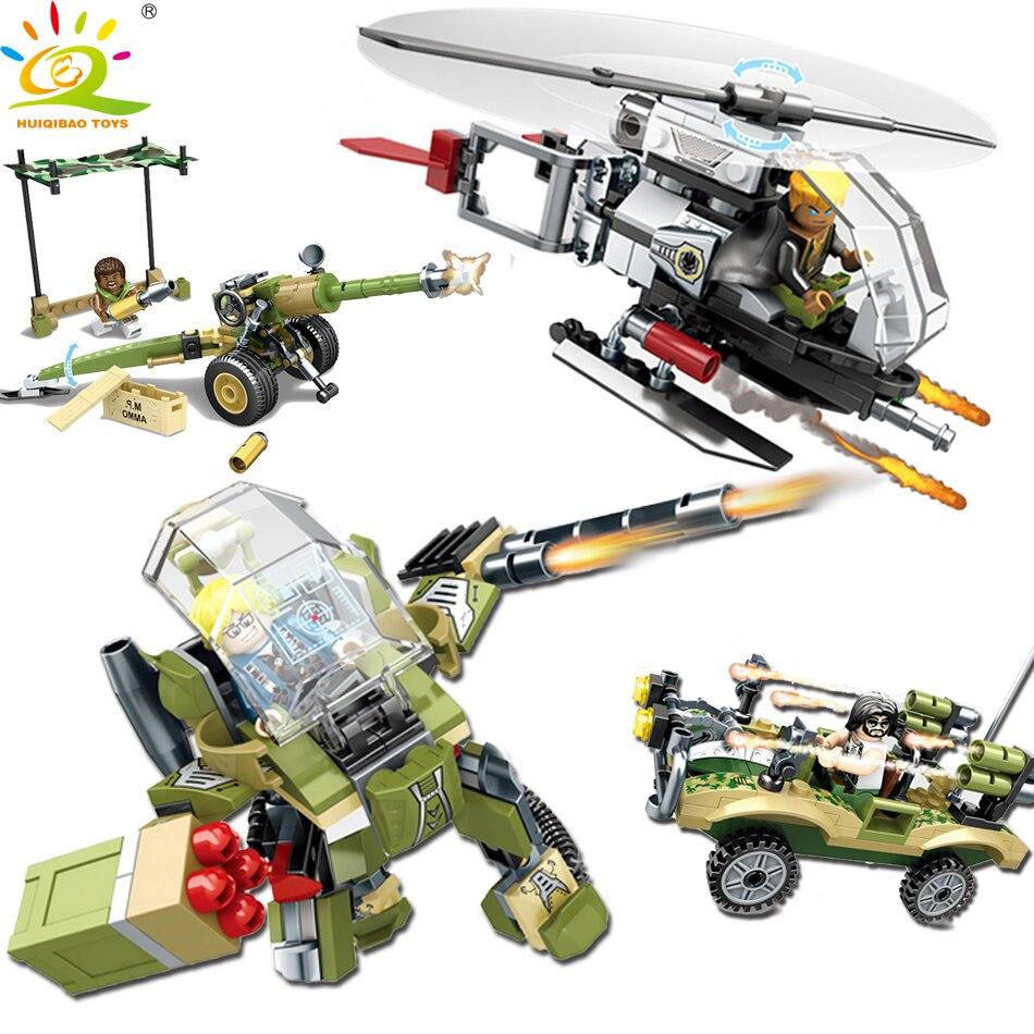 HUIQIBAO TOYS Military Combat Troop Building Blocks Enlighten Toys For Children Compatible Legoed City Helicopter Figures Bricks