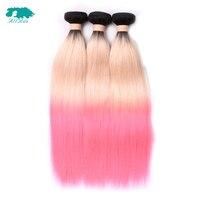 Allrun Hair Indian Straight Hair Bundles 3/4 Bundles T1B/613/Pink Human Hair Extensions Remy Hair Weaving 10 24 Doble Weft