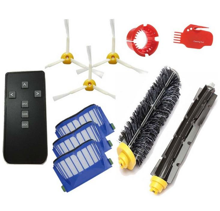 цена на 11pcs/lot AeroVac Filter + brushes + Remote control kit for iRobot Roomba 600 Series 595 620 630 650 660 replacement