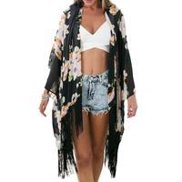 Kadın Püskül Yapıştırma Asimetrik Hırka Kırpılmış Plaj Ince Şifon Bluz Kadın Gömlek Üstleri Blusas Bikini Kapak Up Kimono