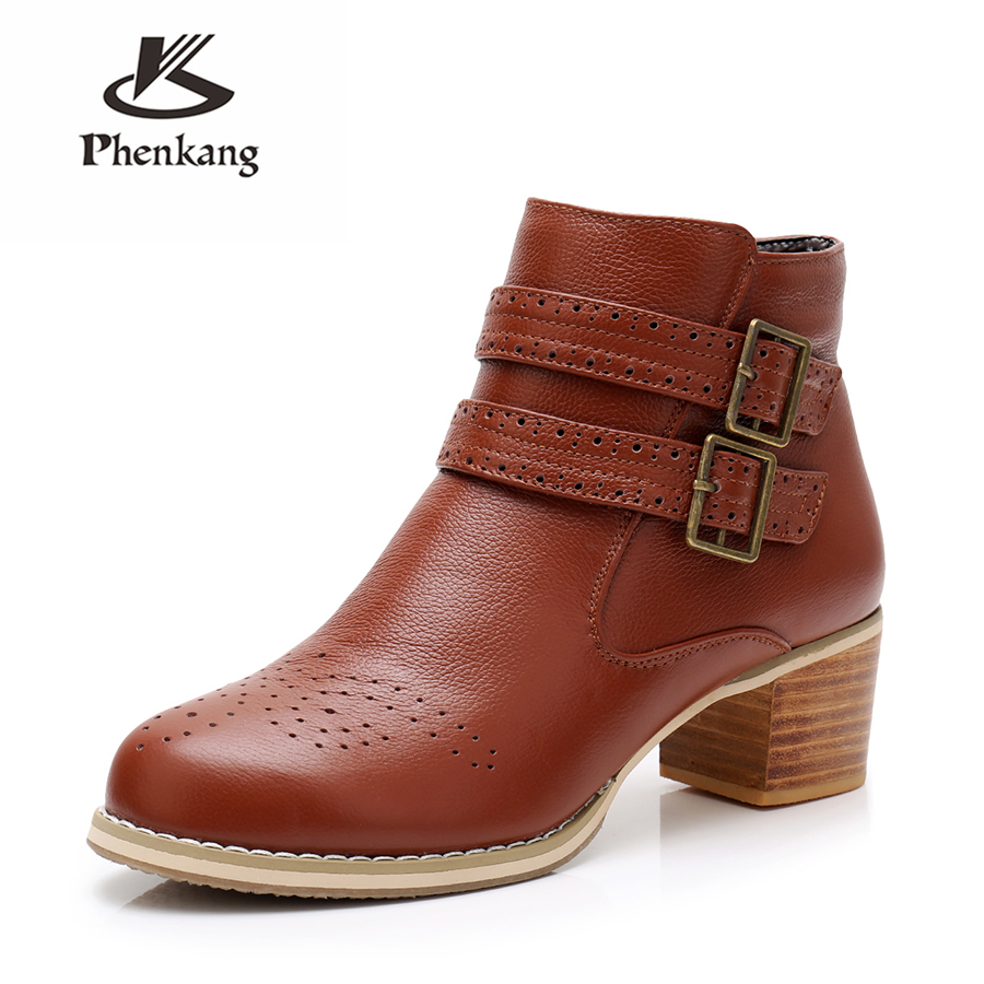Genuine cow Leather women Ankle Boots shoes round toe elastic band Handmade 2018 lady winter boots