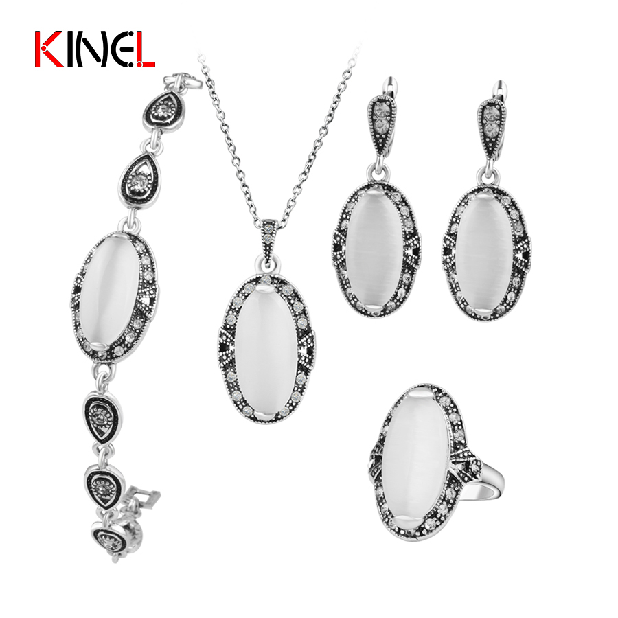 KineL Brand Vintage Opal Wedding Jewelry Set Plating Ancient Silver 4Pcs/Sets Ring/Necklace/Bracelet And Earring For Women Gift vintage faux opal floral necklace jewelry for women