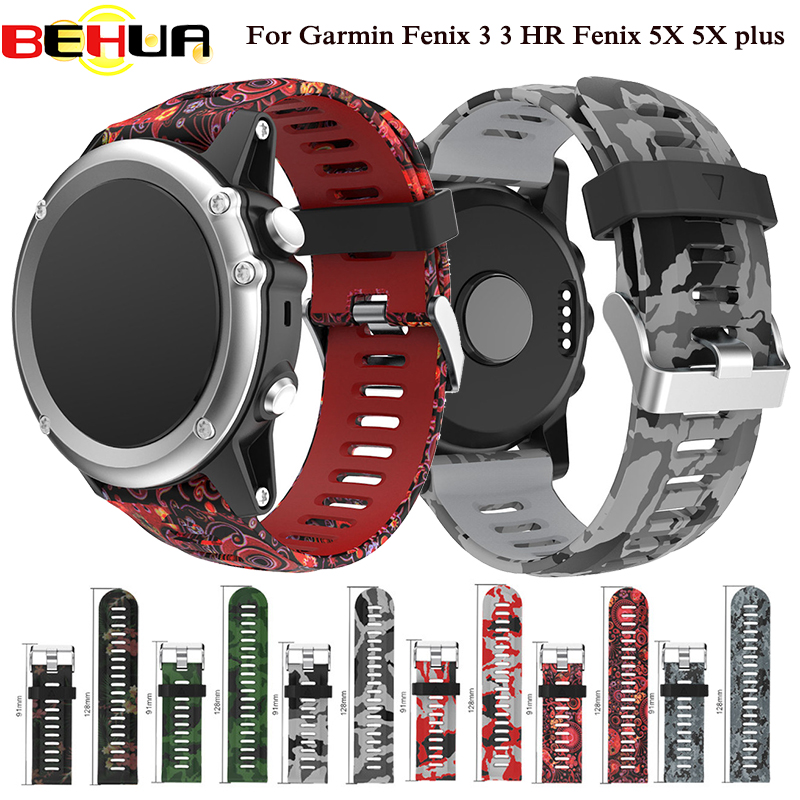 26mm Width Watch Strap For Garmin Fenix 3 Replacement Watch Band Outdoor Sport Silicone Watchband For Garmin Fenix3 HR/ Fenix 5X