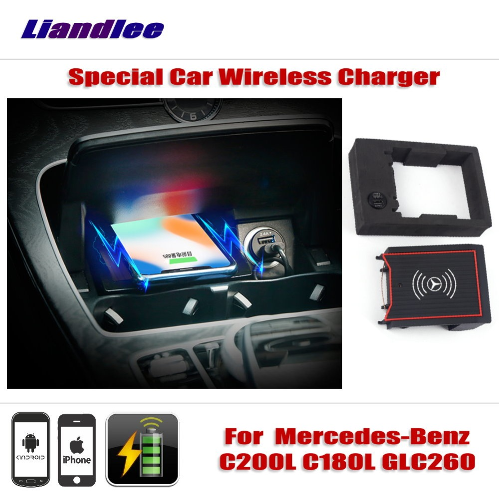 Liandlee For Mercedes-Benz C200L C180L GLC260 Car Wireless Charger Armrest Storage IPhone Android Phone Battery