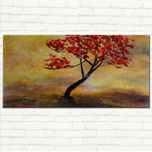 Handpainted large size red flower tree painting palette knife art on canvas for wall decoration modern art