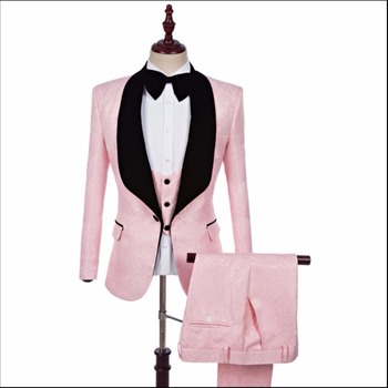 2020 New Men's Wedding Groom Pink Jacquard Suits Three-piece Casual Slim Shawl Collar Formal Dress Singer Stage Costumes /s-5xl