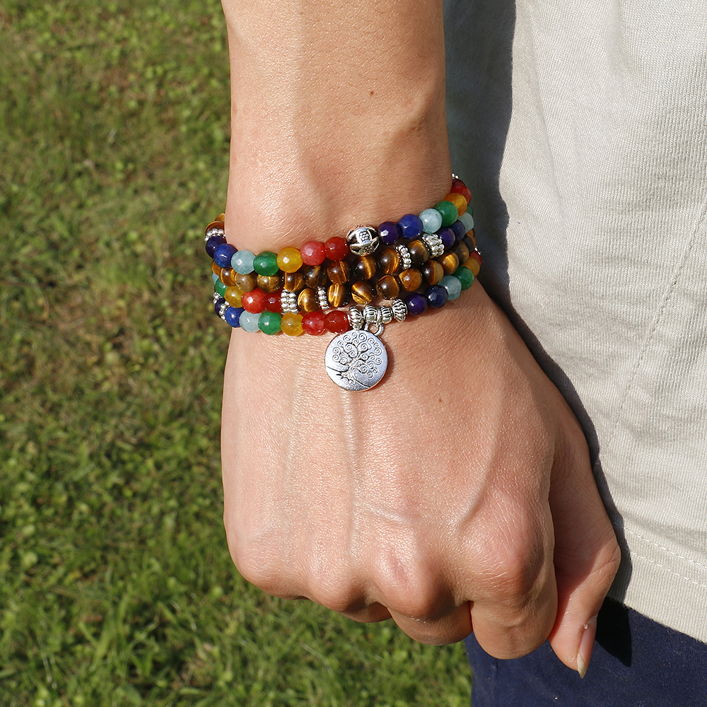 Árbol vida 7 Chakra un ojo de Tigre con cuentas pulsera Unisex Navidad Año nuevo regalo Mala 108 Buda curación hombre de piedra pulsera de cuentas