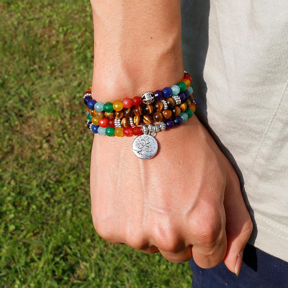 Baum Leben 7 Chakra Eine Tiger Eye Perlen Armband Unisex Weihnachten neue Jahr Geschenk Mala 108 Buddha Healing Mann Stein Perlen Armband