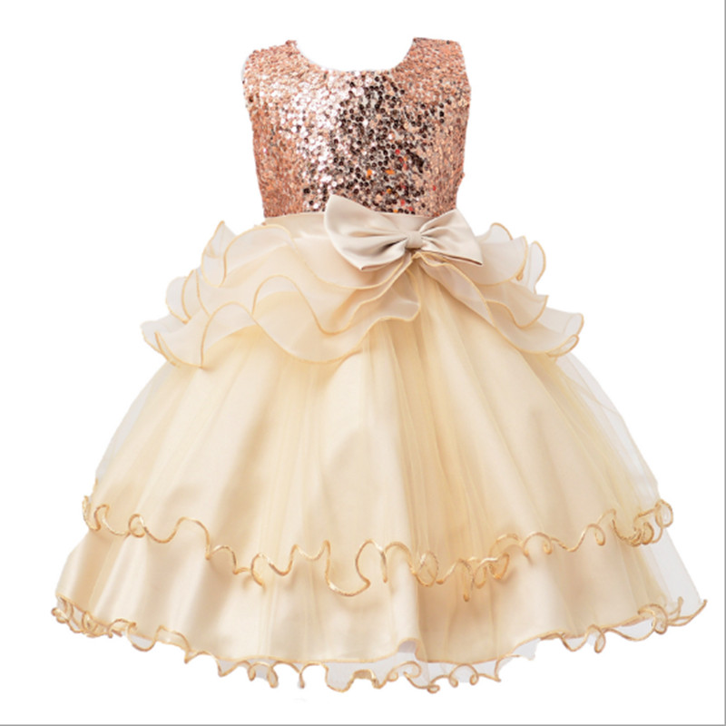 2017 New Flower Girls Party Dress Sequins Toddler Girl Formal Ball Gown Infant Princess Costume Children Girl Clothing 3-12Yrs new arrival hot sale toddler princess girls sleeveless ball gown costume latin show fashion formal dancing dress