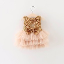 2016 Summer New Girl Dresses Kids Sequins Bow Tiered Gauze Party Sundress Princess Dress Children Clothing 2-7 T 16882
