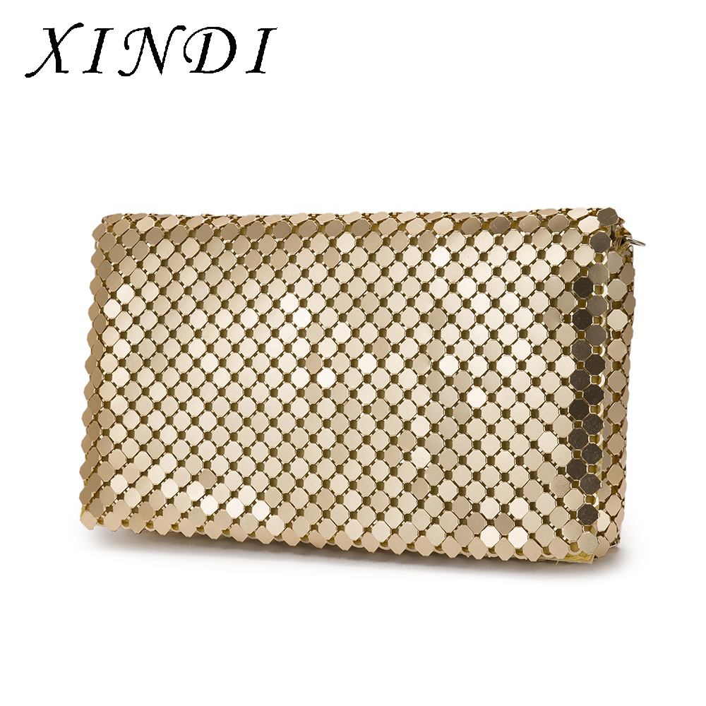 XINDI High Quality Office HandBag Stage Messenger Bags For Wedding Party Party Handbags Gold Metal Bag Ladies With chain 51mm inside 30pcs 4 colors high quality diy handbag bag silver light gold metal accessory arch bridge connector hanger