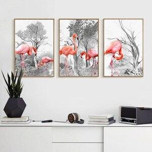 Nórdico moderno Decoração Do Quarto Da Arte Da Lona do Retrato Da Parede Impressão Rosa Flamingo Birds Animais Pintura Quadro Decoração de Casa Cartaz