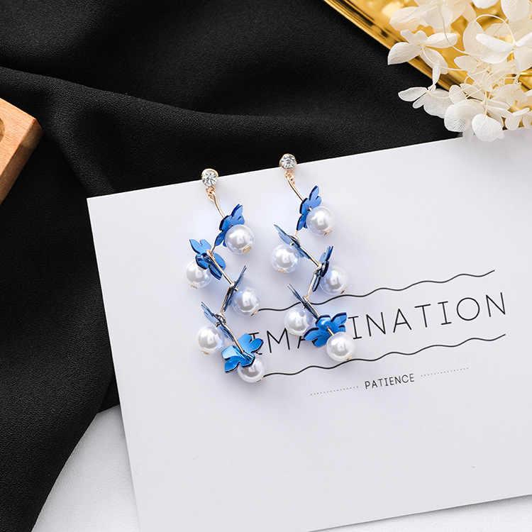 MENGJIQIAO 2018 nueva llegada flor acrílica coreana simulada perla gota Pendientes para mujer elegante largo Pendientes joyería dulce