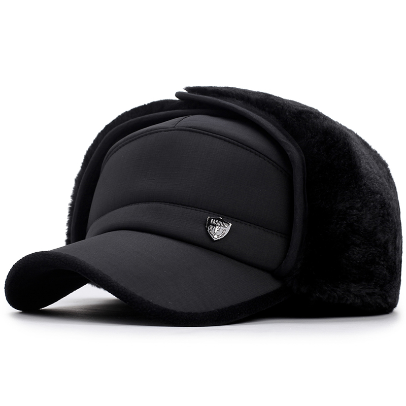 [AETRENDS] Winter Bomber Hats For Men Warm With Ear Flaps Cotton Men Dad Hat Z-5927()