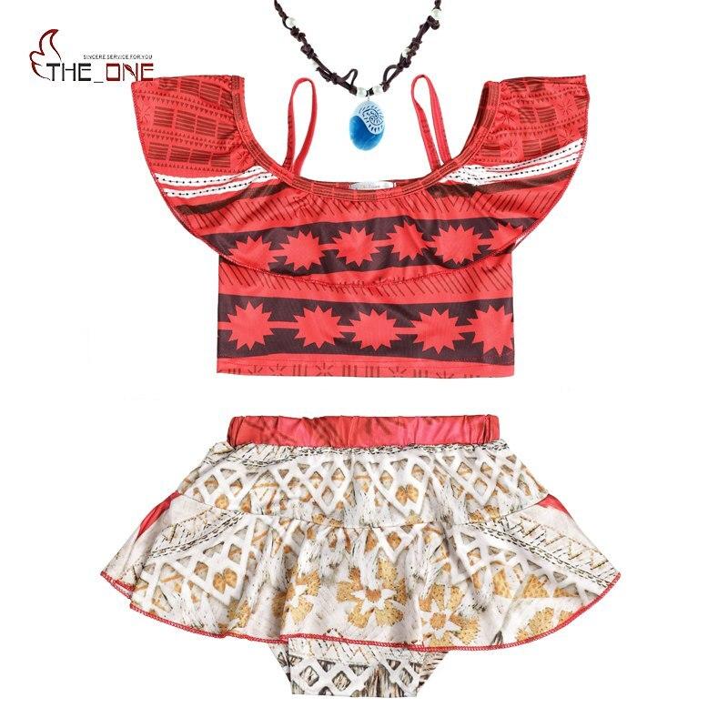 MUABABY Baby Girls Moana Swimsuit Kids Summer Beach Swimwear Children 2 Pieces Swimming Wear Costume Girl