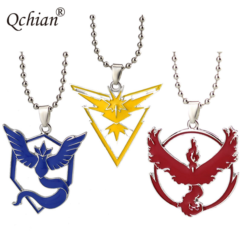 New Pokemon Go Necklace Three Camp Signs Anime Game Alloy Necklace Give Pokemon Fans Best Gift Blue/Yellow/Red choose