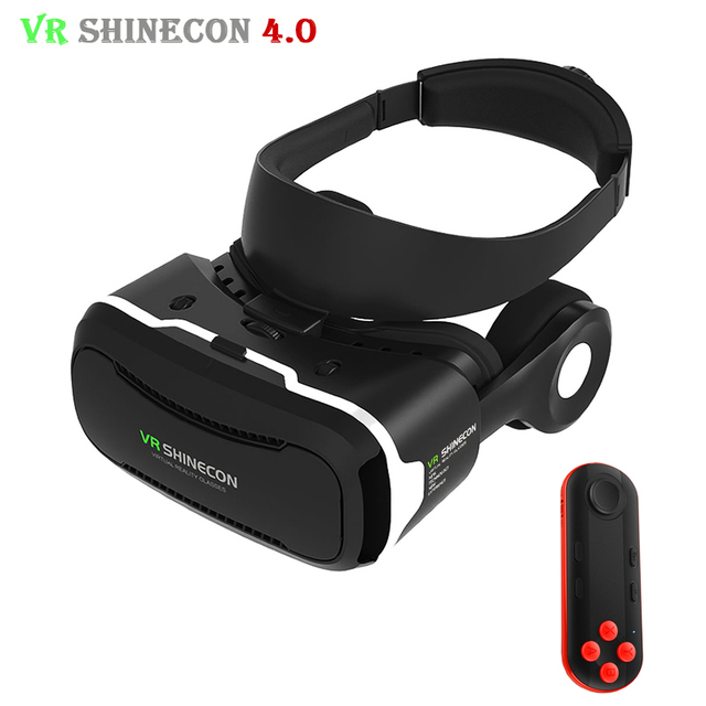 VR Shinecon 4.0 Goog Immersive Stereo 3D Virtual Reality Glasses Smartphone Headset VR BOX for 3.5-5.5' Phone with Mocute Remote