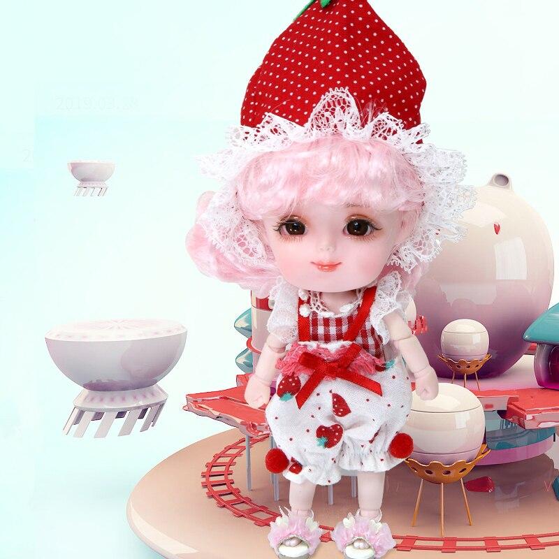 14cm kawaii Mini fruits filles poupées peint à la main maquillage Joint OB11 poupée bébé poupée jouets pour filles enfants cadeau d'anniversaire