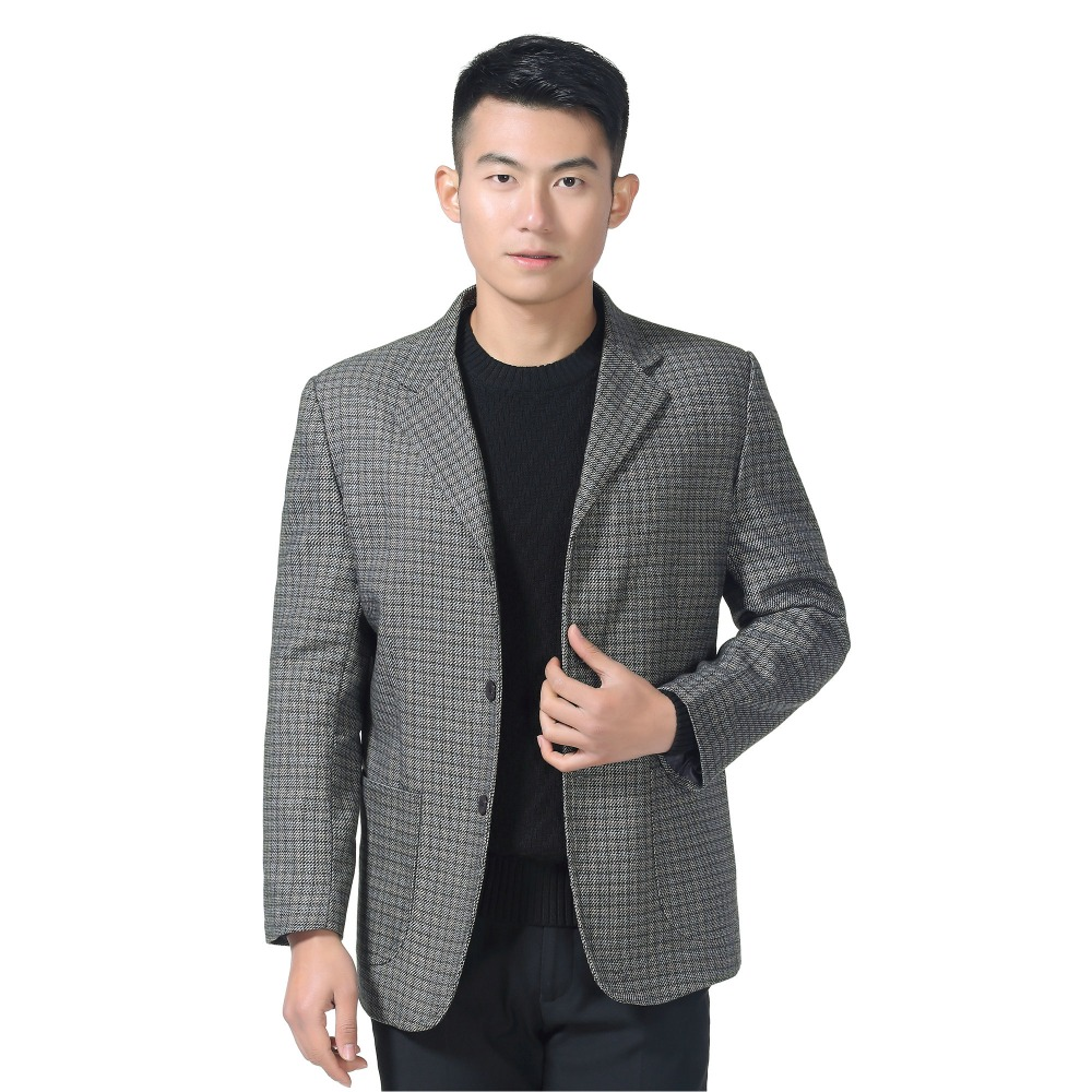 WAEOLSA Man Casual Blazer Gray Plaid Suit Jacket Little Check Blends Blazers Men Casual Suit Coat Male Outfits Blazers Spring XL in Blazers from Men 39 s Clothing
