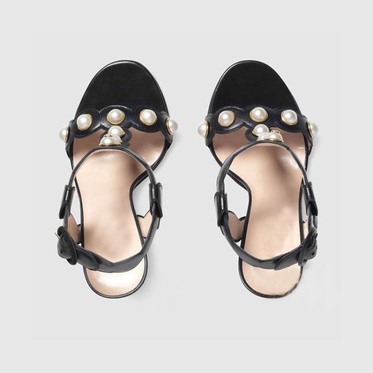 Sandales Haute Boucle gold Côté Et Black D'été Épais Nouveau Feuilles Or 2017 Printemps Boucles Chaussures Talons Cuir Perle Mot vqwA0nxpt