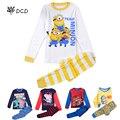 De la NUEVA historieta niños conjuntos de pijamas, niños Minions pijamas pijamas niños niñas ropa de dormir pijamas niño pijamas del bebé pijamas minions