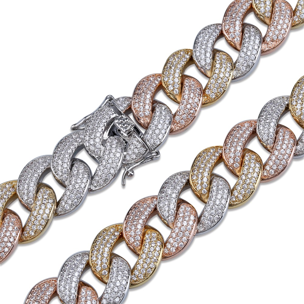 Maimi Cuban Link Chain Necklace Men's Hip Hop Gold Color Iced Out Cubic Zircon Necklaces Jewelry Gifts 16