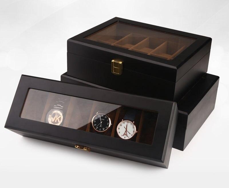 Top qualité 6/10/12 grilles montre stockage montre organisateur vitrine boîte en cuir luxe montre boîte pour titulaire Valentine cadeau - 4