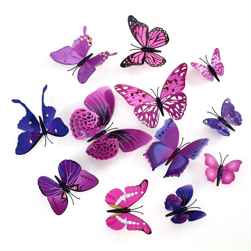 3D Butterfly Wall Stickers Decals Home Decor Poster for Kids Rooms Adhesive to Wall Decoration Adesivo De Parede