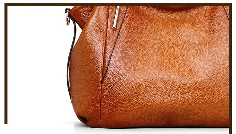 Vintage Women's Handbags Soft Genuine Leather Tote Crossbody Bag High Quality Cow Leather Shoulder Bags Female Brown Hand Bag 13