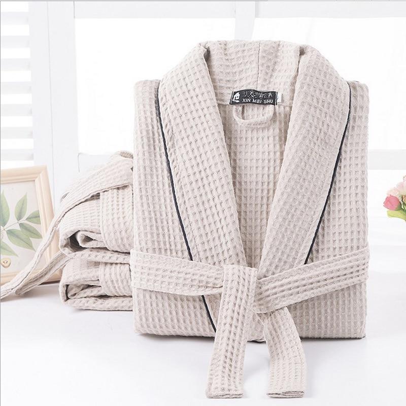 Offre spéciale femmes d'été couleur unie Robe de mariée à manches longues gaufre 100% coton sommeil Robes Kimono mariée Robe de bain