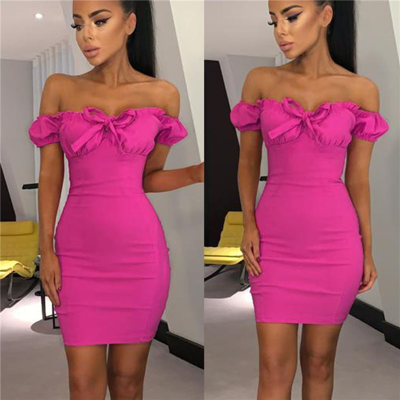 2019 New Women Hot Off Shoulder Bandage Bodycon Dress Strapless Short Sleeve Dress Lace-up Bow Evening Party Clubwear Mini Dress