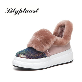 2019 new European and American style sheep anti-velvet material sequins decorative boots round head muffin soles warm snow boots