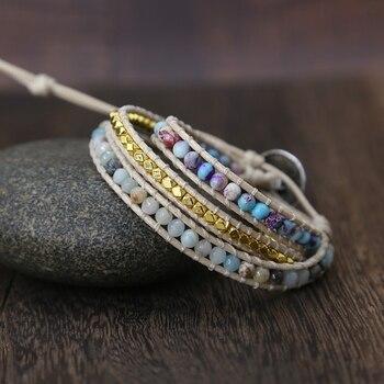 Bohemia Vintage Unique Natural Stone turquoises Charm 3Strands Wrap Bracelets Handmade 1